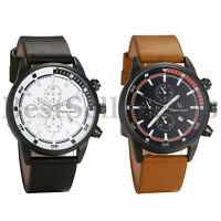 Black / Brown Leather Band Quartz Movement Round Dial Wrist Watch for Men Women