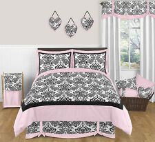 Jojo Designs Pink Black White Damask Girl Kid Teen Full Queen Sized Bedding Set