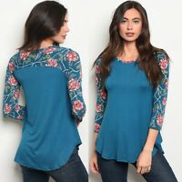 NWT Women's medium teal Blue Floral Raglan Blouse BOUTIQUE TOP USA made