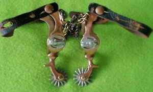 BUERMANN North & Judd HERCULES Bronze Antique HORSEHEAD Buckaroo SPURS~CHAIN~NR