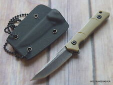 TACFORCE TAN FINISH FULL TANG NECK KNIFE FIXED BLADE WITH HARD KYDEX SHEATH