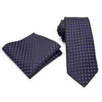 Black Purple Polka Dot Tie and Pocket Square Set Handmade 100% Silk Wedding