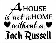 """""""JACK RUSSELL HOME"""" House Dog Breed 8.5"""" x 11"""" Stencil Plastic Sheet NEW S289"""