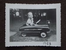 YOUNG BOY RIDING FIRE CHIEF PEDAL CAR 1953 PHOTO