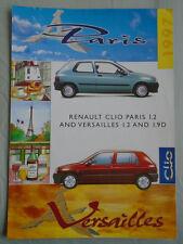 Renault Clio Paris 1.2 & Versailles 1.2 & 1.9D brochure déc 1996