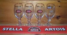 STELLA ARTOIS  4 ANNIVERSARY CHALICE GLASSES 40cl & BEER BAR MAT RUNNER NEW