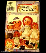 Simplicity 9447 SEWING Pattern 17, 26 &36in Raggedy Ann & Andy Cloth Dolls new