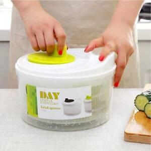 Large Plastic Salad Spinner Leaf Dryer Lettuce Veg Drainer Dressing Herb  New UK
