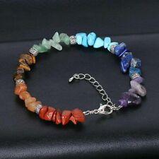 Women 7 Chakra Chipped Raw Natural Stone Yoga Healing Balance Crystal Bracelet