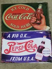 2 Lot Tin Sign Coca-Cola Ice Cold Sold Here Bulleye & Pepsi Cola U.S Seller