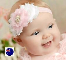 Child Girl Kid Baby Pink White Flower Lace Pearl Elastic hair band Headband PROP