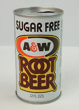 Sugar Free A&W Root Beer Soda Pop Can - Opened - Steel - VG condition