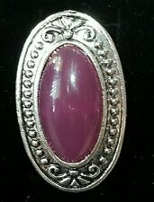 New fashion cocktail ring jewelry adjust deep purple oval stone silver-tone