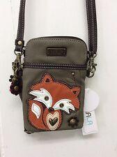 Chala Handbags Cell Phone Crossbody Bag Small Convertible Purse Olive Fox New