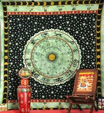 Astrology Tapestry, Hippie Tapestries, Indian Zodiac Bedspread Bed Cover Throw