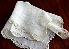 Vintage 1920-1940s Wedding Hanky Never Used New Old Stock White & Gray Tag Lace