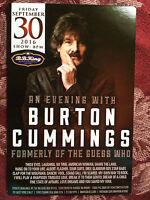 Burton Cummings   ad/flyer  NYC  BB.Kings concert Sept 30 2016  Bachman