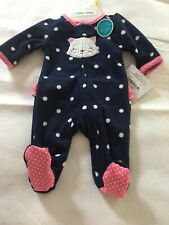 Girls Size Preemie Up to 6 lb Child of Mine Carters Fleece Sleeper Kitty Cat New