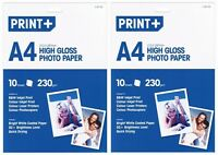 2x A4 High Gloss Photo Paper Bright White Coated Paper (20 Sheets) - New