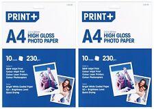 2x A4 Carta fotografica lucida carta patinata bianco brillante (20 FOGLI) - NUOVO