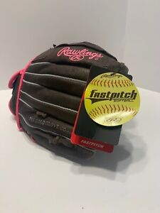 Rawlings FP110 11 Inch Leather Softball Glove / Mitt - Lefty With Pink