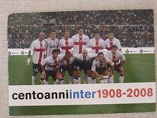 CARTOLINA CALCIO SQUADRA INTER VS. ROMA 29/9/2007 100 ANNI - ANNULLO E AUTOGRAFI