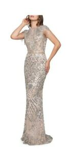 Mac Duggal Fringed Cap-Sleeve Column Gown $598 Size 14