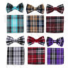 New men's pre-tied bowtie set plaid & checkers polyester formal wedding red gray