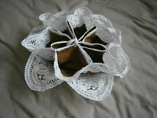 LINEN HAND CROCHETED WHITE LACE/BROWN LINING BREAD ROLL / FRUIT  HOLDER.