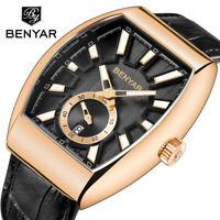 BENYAR Men Date Luxury Leather Band 3ATM Military Sport Quartz Wrist Watch Gift