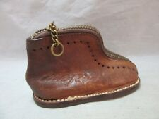 Vintage 1969 hand crafted leather shoe change purse. Costa Rica