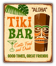 "Tiki Bar Aloha Party Grunge Sign Car Bumper Sticker Decal 4"" x 5"""