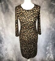HOBBS Leopard Print Brown Wool Bodycon Dress Wiggle Fitted Midi Length UK Size 8
