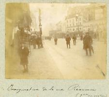 France, Paris, Inauguration de la Rue Réaumur  Vintage citrate print.  Tirage