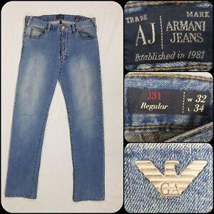 Mens Armani J31 Jeans W32/L34 Light Blue Wash Denim Regular Fit