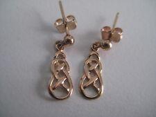 Gold celtic earrings dangling 9 carat rose gold