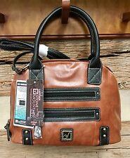 STONE MOUNTAIN Leather Satchel Removable Shoulder Strap & USB  BLACK & TAN New!
