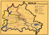 Cartolina circa 14x9 cm BERLINO ZONE DI OCCUPAZIONE Die viergeteilte Città