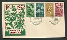 GUINEA ESPANOLA FDC 1959 PRO INFANCIA FLORA PFLANZEN PLANTS d7282