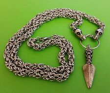 Viking Dragon Chain (70cms) with a Manx Gungnir Spear Pewter Pendant