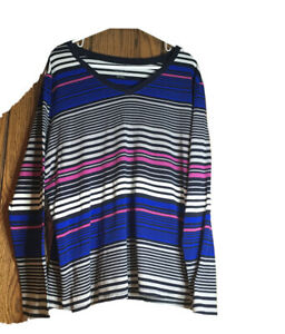 MERONA  Plus Sz 3 Multi Color Striped TOP  V-Neck. Long Sleeve 100% Cotton EUC