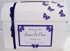 Personalised butterfly wedding card chest post box white or ivory & any colour