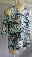 Peck & Peck Top Plus Size Blue Multi Cold Shoulder Blouse Jersey Stretch NWT$120