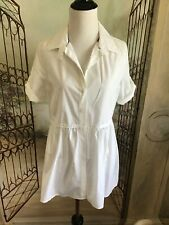 BURBERRY BRIT WOMEN'S COLLAR COTTON WHITE BLOUSE SHIRT TOP Sz Large