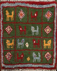 Little Animal Green Authentic Gabbeh Oriental Area Rug Handmade Plush Wool 1x1