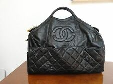 CHANEL Travel Hand Bag Blac  Leather