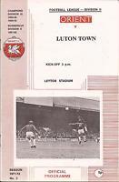 Football Programme - Leyton Orient v Luton Town - Div 2 - 1971