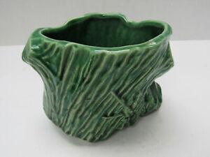 "Vintage McCoy Pottery Green Tree Stump 4"" Small Planter"