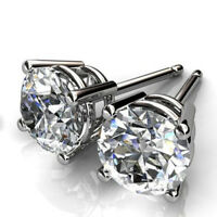 1.00 Ct Round VVS1/D Solitaire Diamond Earrings Real 14K White Gold Studs A44