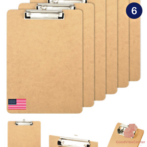 Office Letter Size Wood Clipboards, Low Profile Clip, 6 Pack Stainless-steel NEW